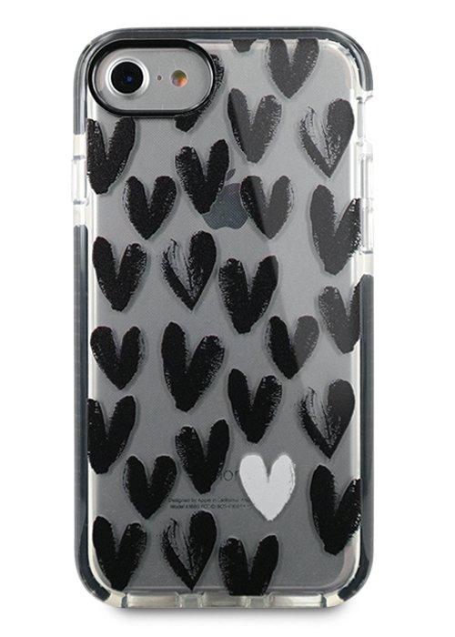 Чехол для iPhone 7/8 Sweet силикон (Black hearts)