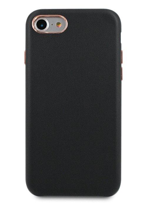 Чехол для iPhone 7/8 Бомонд кожа (Черный)