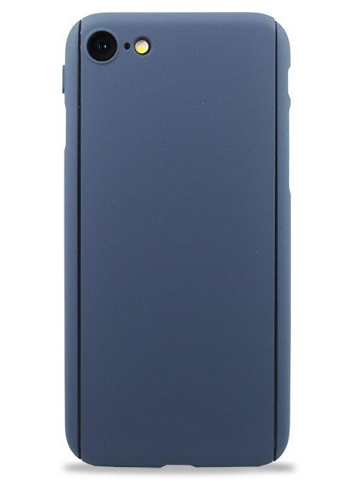 Чехол для iPhone 7/8 Чехол-стекло Soft touch (Синий)