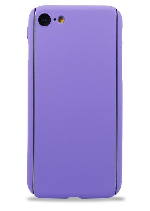 Чехол для iPhone 7/8 Чехол-стекло Soft touch (Сиреневый)
