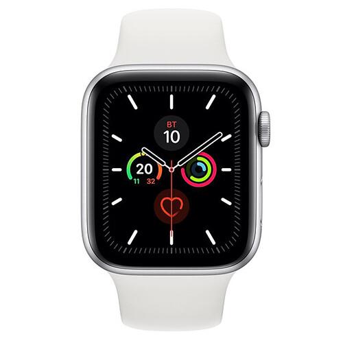 Умные часы Apple Watch Series 5, 44 мм, корпус из алюминия цвета «серебряный», спортивный ремешок цвета белый
