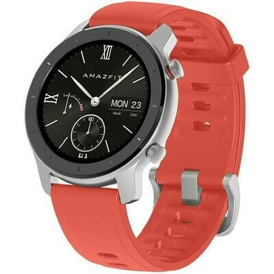 Умные часы Amazfit GTR 42mm aluminium case, silicone strap (red)