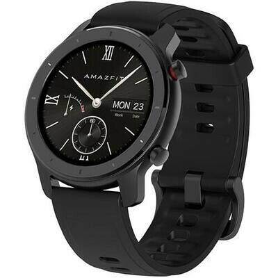 Умные часы Amazfit GTR 42mm aluminium case, silicone strap (black)