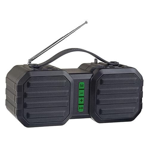 Bluetooth-колонка Perfeo «STAND» FM, MP3 microSD, USB, AUX, мощность 10Вт, 2400mAh (черная/зеленая)