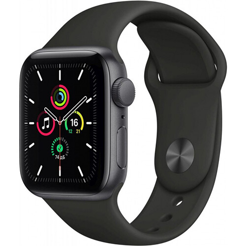 Умные часы Apple Watch SE, 40 мм, корпус из алюминия цвета «серый космос», спортивный ремешок RUS