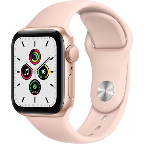 Умные часы Apple Watch SE, 40 мм, корпус из алюминия золотого цвета, спортивный ремешок RUS