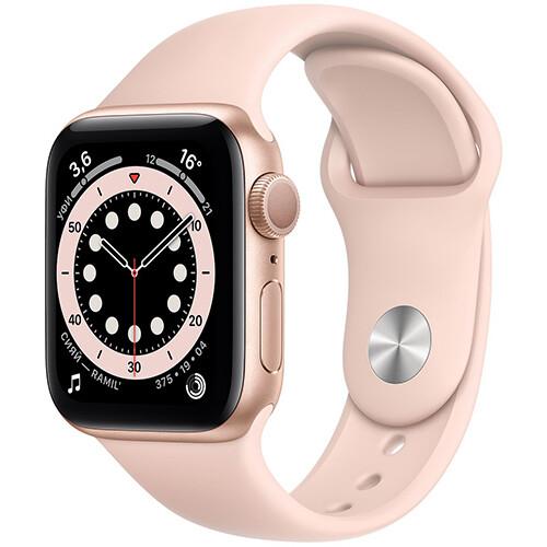 Умные часы Apple Watch Series 6, 44 мм, корпус из алюминия золотого цвета, спортивный ремешок