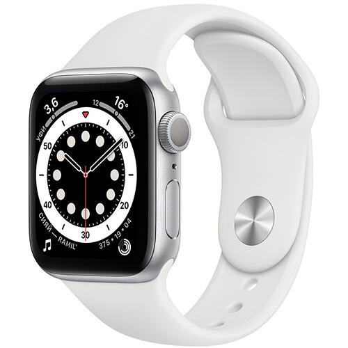 Умные часы Apple Watch Series 6, 44 мм, корпус из алюминия серебристого цвета, спортивный ремешок