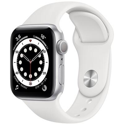Умные часы Apple Watch Series 6, 40 мм, корпус из алюминия серебристого цвета, спортивный ремешок