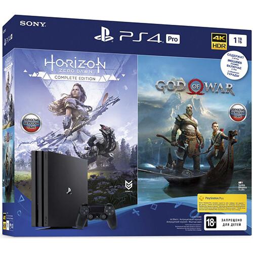 Игровая консоль Sony PlayStation 4 Pro с 1 ТБ памяти, играми God of War, Horizon: Zero Dawn
