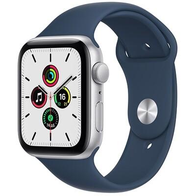 Умные часы Apple Watch SE, 44 мм, корпус из алюминия серебристого цвета, спортивный ремешок синего цвета RUS
