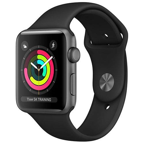 Умные часы Apple Watch Series 3, GPS, 38mm, корпус из алюминия цвета «серый космос», спортивный ремешок чёрного цвета RUS