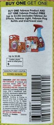 Buy One Get One Febreze and Get One Febreze Free up to $3.00 Expires 9-26-2020