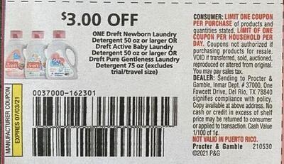 $3.00/1 Dreft Newborn Laundry Detergent 50 oz or Larger Expires 7-3-2021