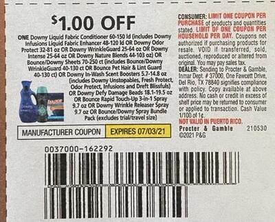 $1.00/1 Downy Liquid Fabric Conditioner 60-150 ld Expires 7-3-2021