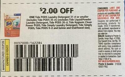$2.00/1 Tide Pods Laundry Detergent 31 ct. or Smaller Expires 7-3-2021