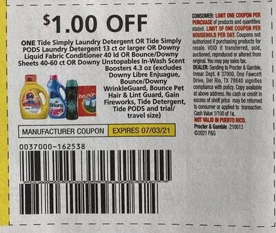 $1.00/1 Tide Simply Detergent Expires 7-3-2021
