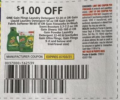 $1.00/1 Gain Flings Laundry Detergent 12-20 ct. Expires 7-3-2021