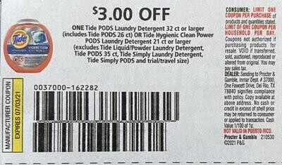 $3.00/1 Tide Pods Laundry Detergent 32 ct or larger Expires 7-3-2021