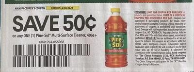 $0.50/1 Pine-Sol Multi-Surface Cleaner Expires 6-30-2021