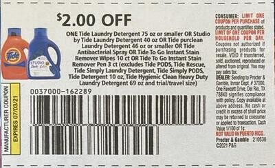 $2.00/1 Tide Laundry Detergent 75 oz or Smaller Expires 7-3-2021