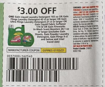 $3.00/1 Gain Laundry Detergent 165 oz or Gain Flings Expires 7-3-2021