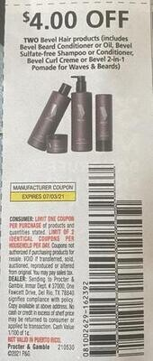 $4.00/2 Bevel Hair Products Expires 7-3-2021