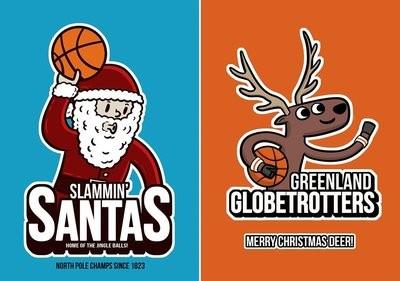 Christmas Cards 10 Pack - Santas / Globetrotters