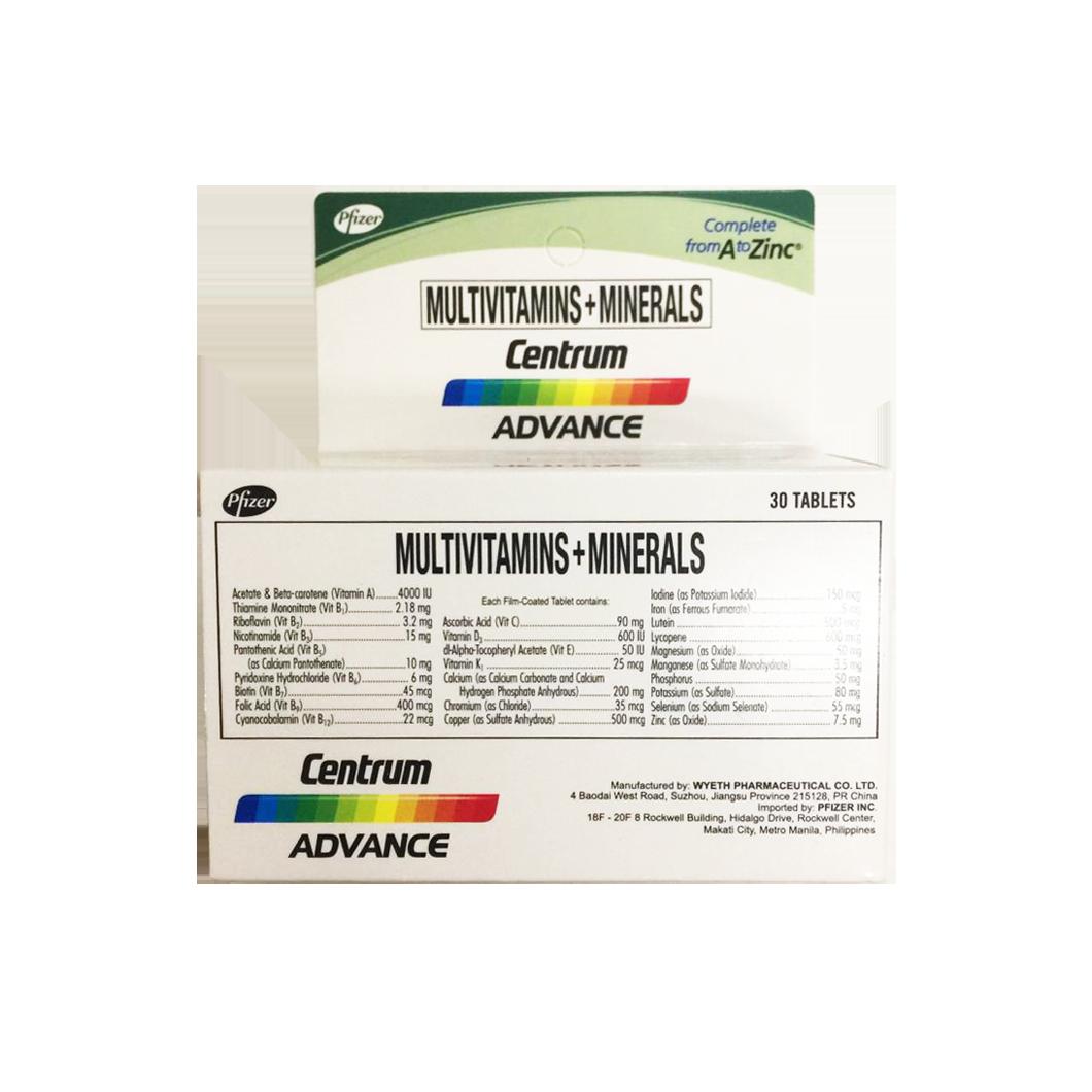 Pfizer Centrum Multivitamins + Minerals 30 Tablets