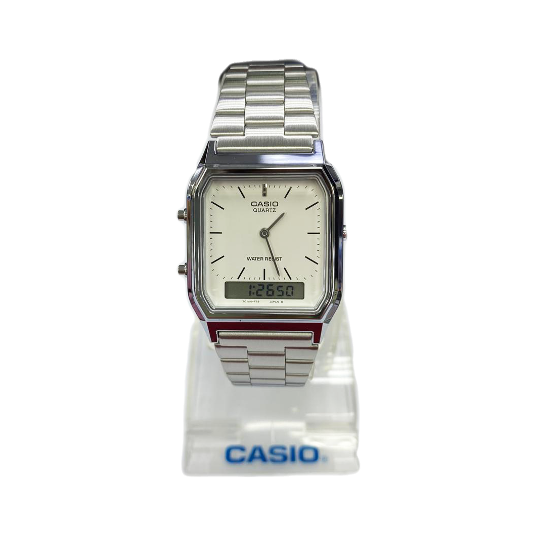 Casio Quartz AQ230 Silver (1 Year Warranty, Original, Water Resisitant, Battery 5 Years)