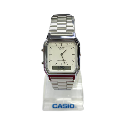 Casio Quartz AQ230 Silver (1 Year Warranty, Original, Water Resisitant, Battery 5 Years)