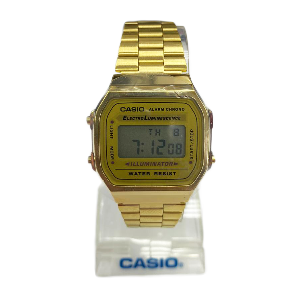 Casio Alarm Chrono Gold A159 (1 Year Warranty, Original, Water Resisitant, Battery 5 Years)