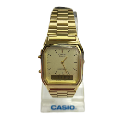Casio Quartz AQ230 Gold (1 Year Warranty, Original, Water Resisitant, Battery 5 Years)