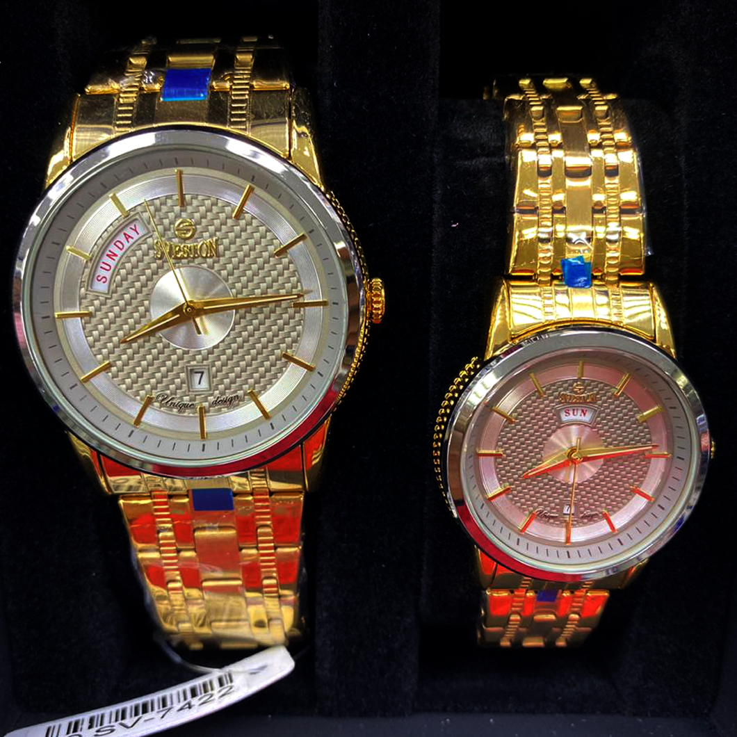 Sveston Couple Watch Gold (water resistant and color guarantee)
