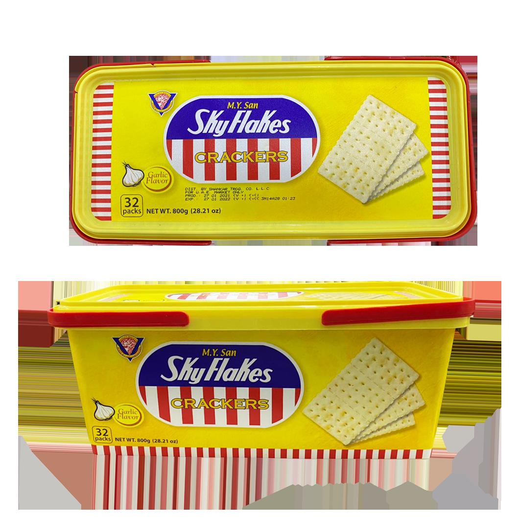 MY San Skylakes Crackers Garlic Flavor Tub