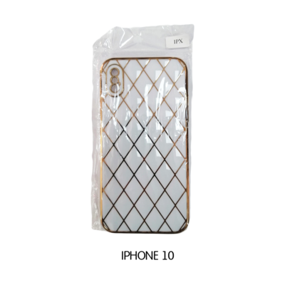 Iphone Case 10 - White with Gold Pattern