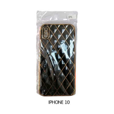 Iphone Case 10 - Black with Gold Pattern