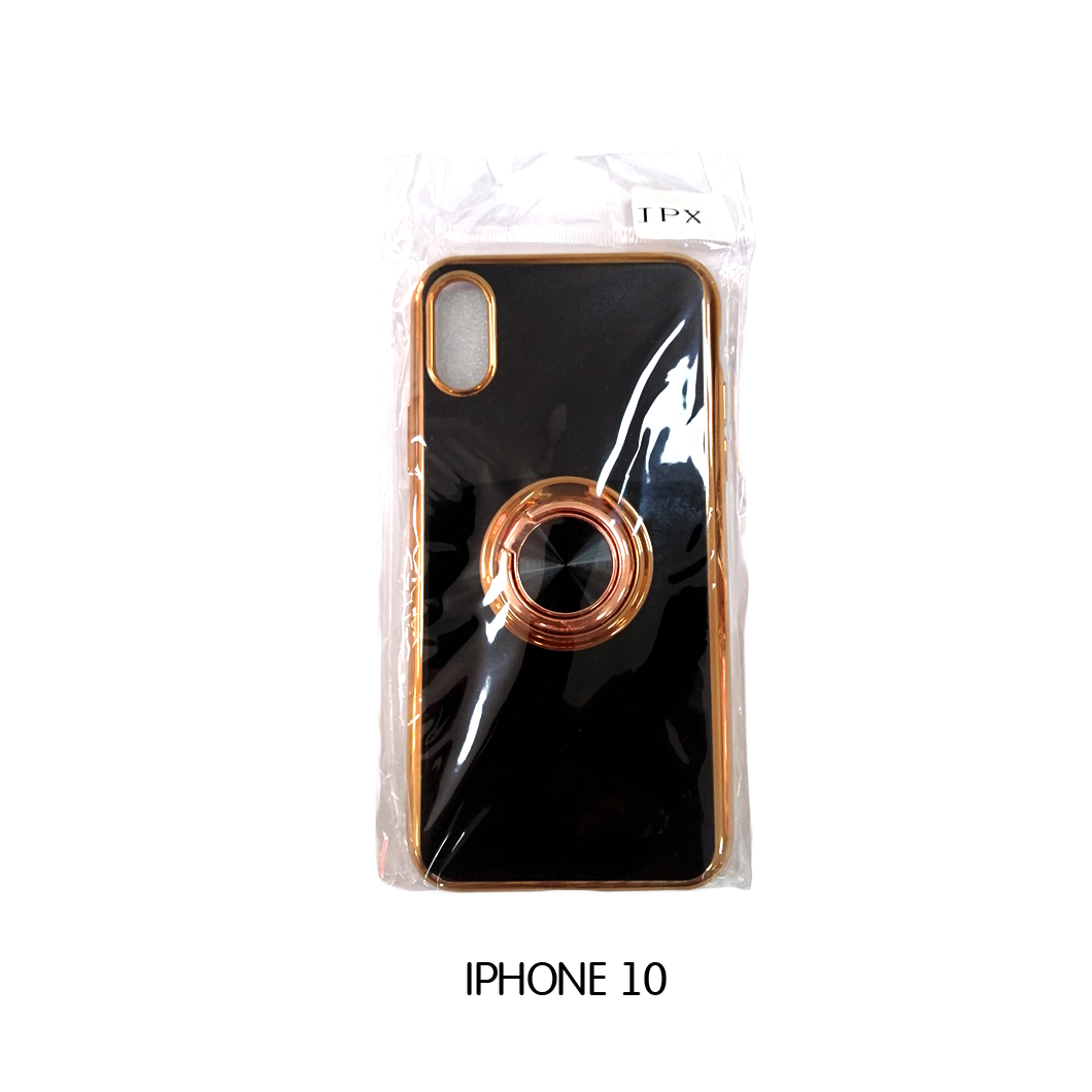 Iphone Case 10 - Black-Gold Lining with Phone Holder