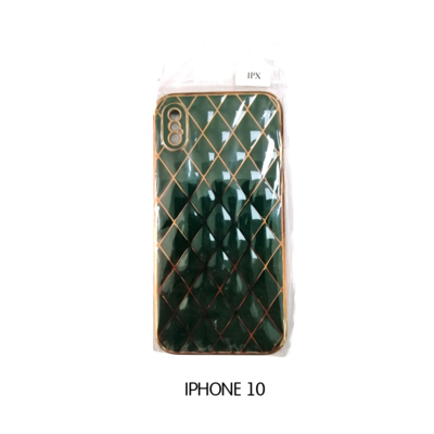 Iphone Case 10 - Emerald with Gold Pattern
