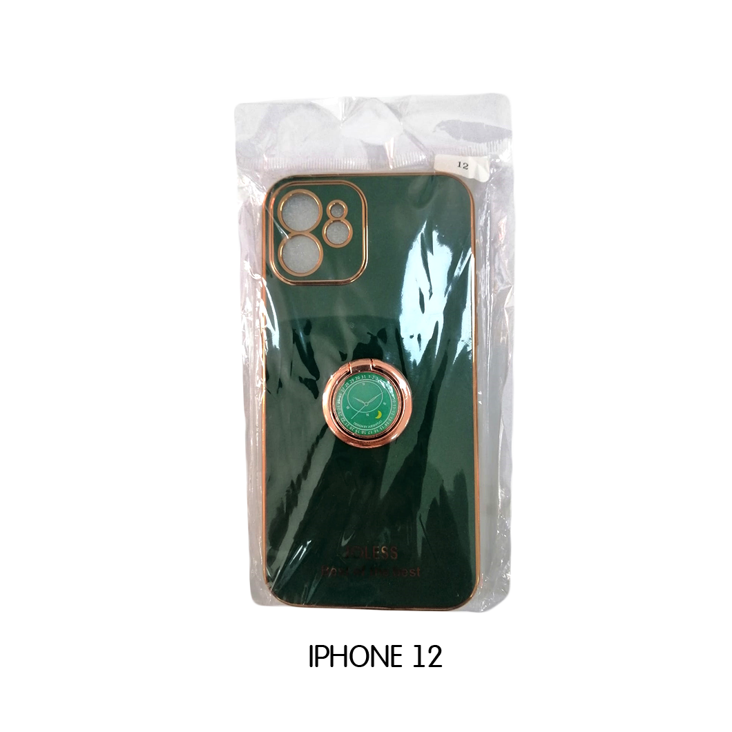 Iphone Case 12 Pro - Green with Gold Lining