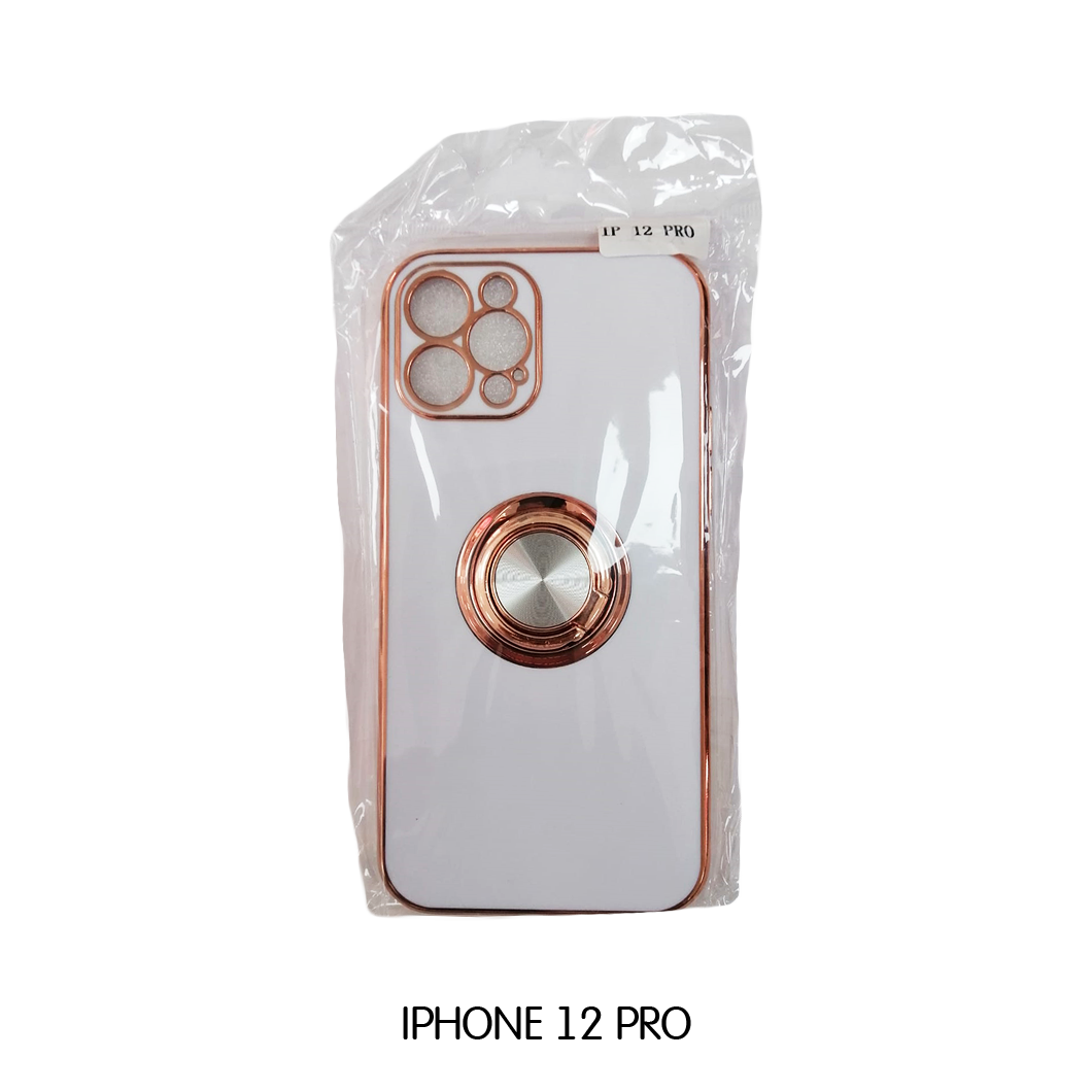 Iphone Case 12 Pro -White with Rose Gold Lining