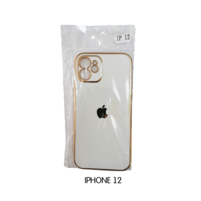 Iphone Case 12 Pro - White with Gold Lining