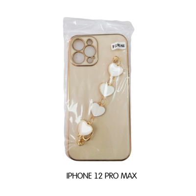 Iphone Case 12 Pro Max - Beige with Hearts Phone Holder
