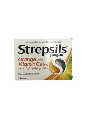Strepsils Orange with Vitamin C 100mg Dual Anti-bacterial Action