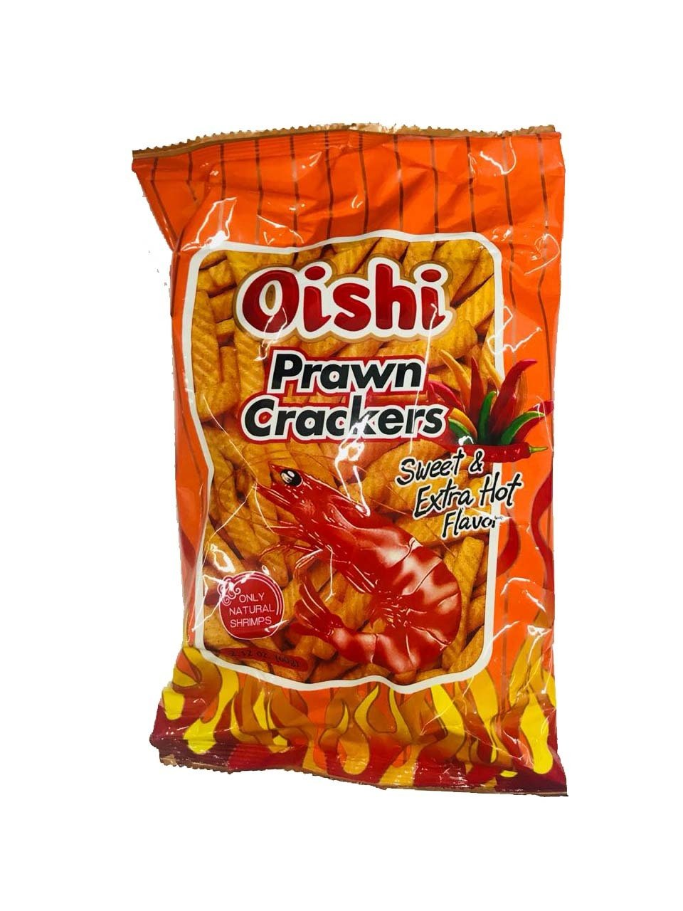 Oishi Prawn Crackers Sweet and Extra Hot Flavor 60g