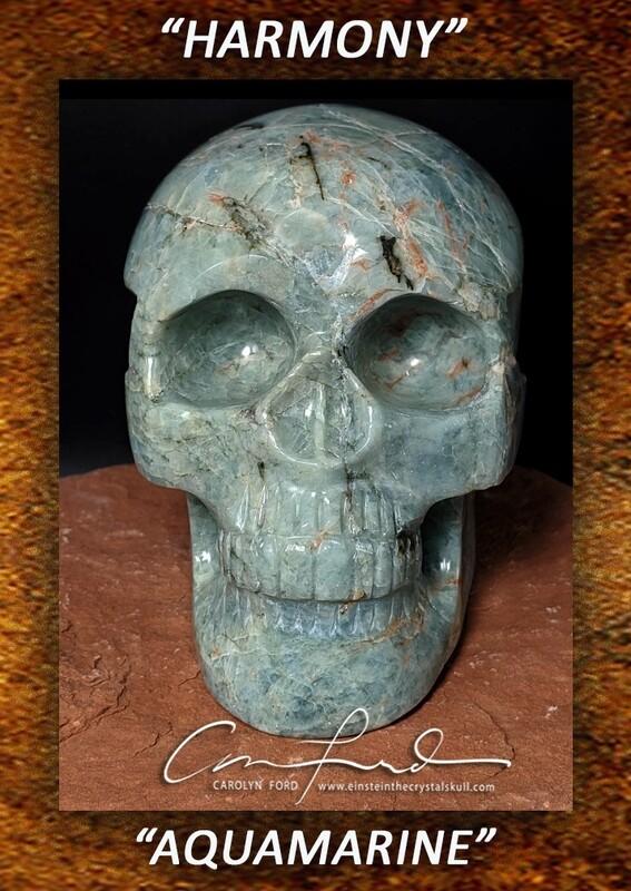 AQUAMARINE Skull, Einstein Imprinted