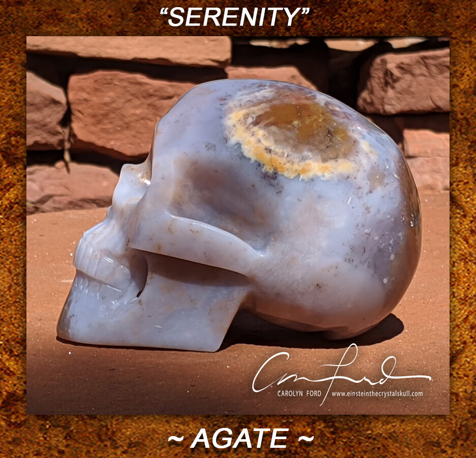 Agate Skull,  Einstein the Ancient Crystal  Skull Imprinted