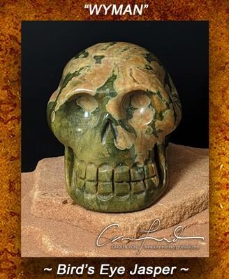 Bird's Eye Jasper  (Rhyolite), Einstein the Crystal Skull Imprinted