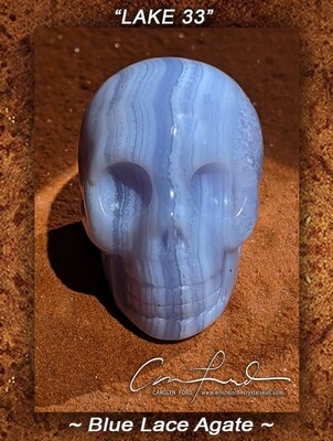 Blue Lace Agate Skull,  Einstein the Ancient Crystal  Skull Imprinted