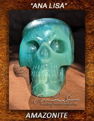 AMAZONITE Skull, Einstein Imprinted
